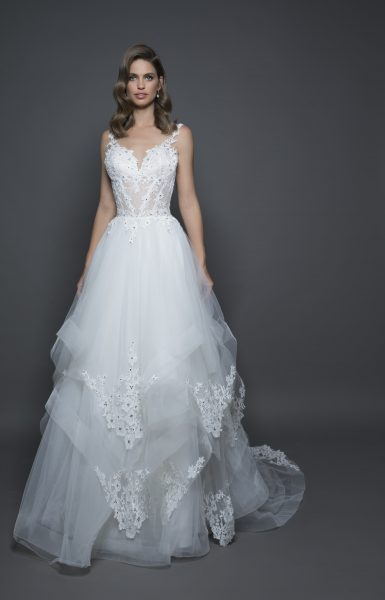 Modern Ball Gown Wedding Dress by Love by Pnina Tornai - Image 1