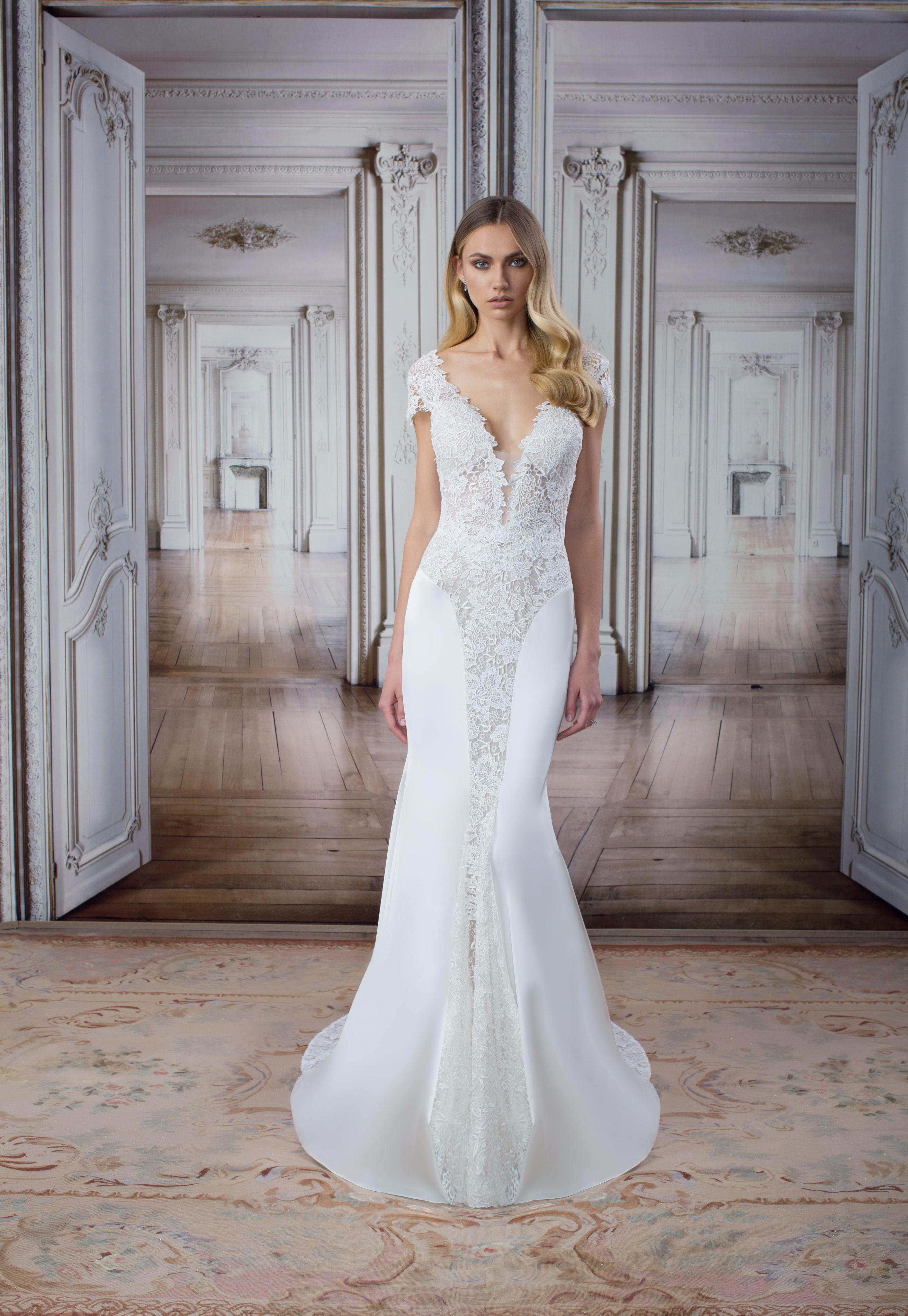 Modern sheath wedding dress kleinfeld bridal for Kleinfeld wedding dress designers