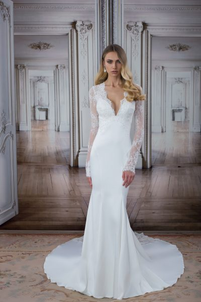 Simple sheath wedding dress kleinfeld bridal simple sheath wedding dress by love by pnina tornai image 1 junglespirit Images