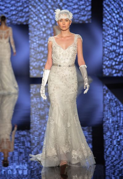 Modern Sheath Wedding Dress by Lusan Mandongus
