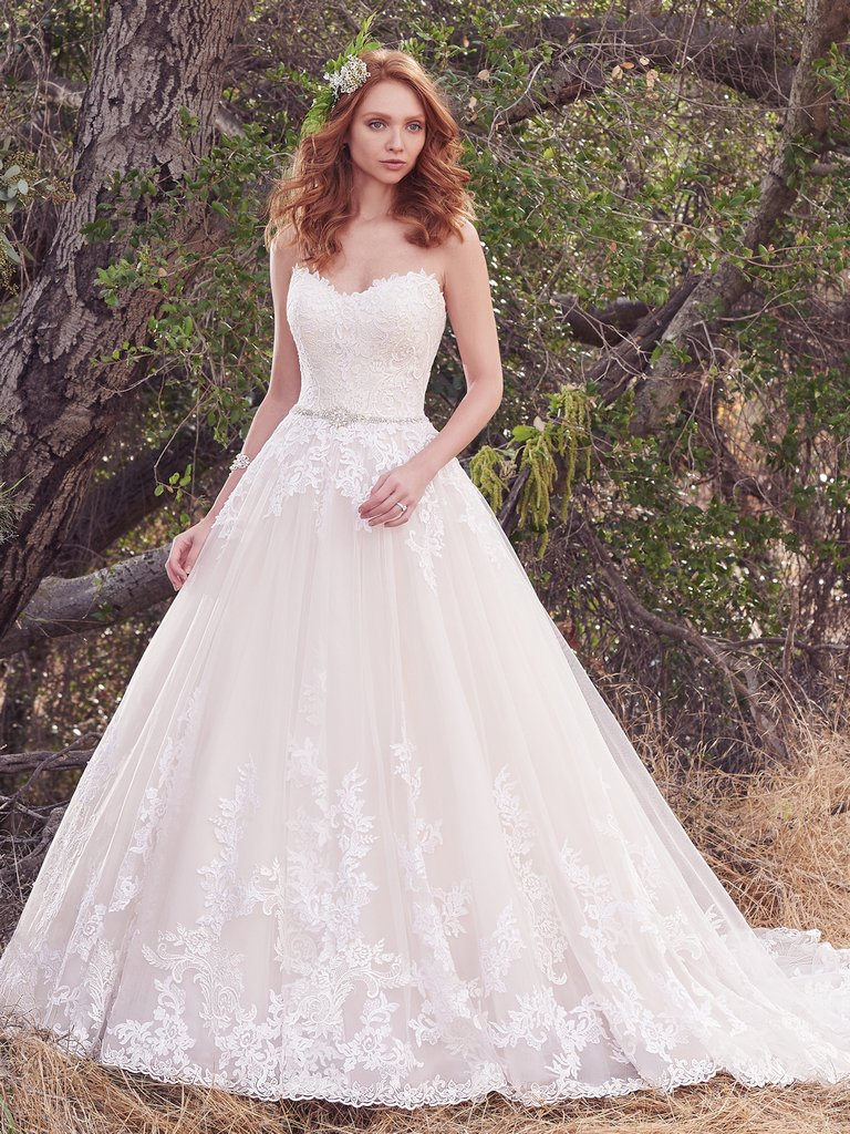 Simple a line wedding dress kleinfeld bridal for Who carries maggie sottero wedding dresses