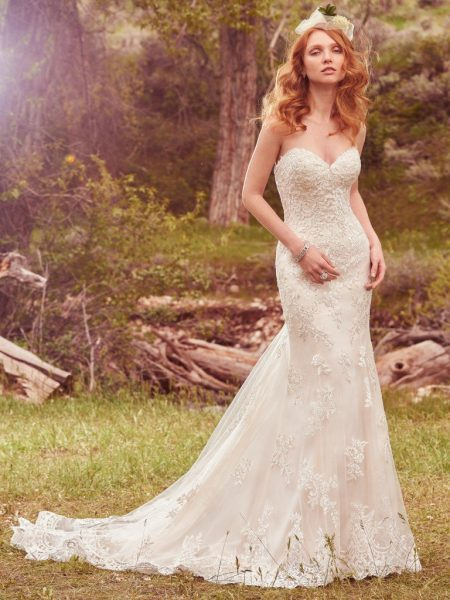 Simple Fit And Flare Wedding Dress by Maggie Sottero - Image 1