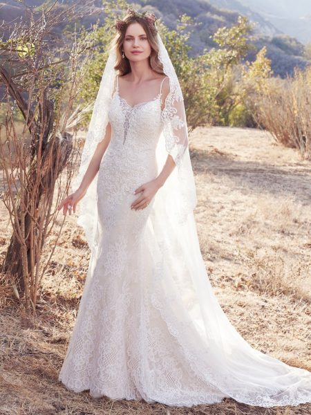 Simple Sheath Wedding Dress by Maggie Sottero - Image 1