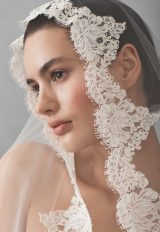 Cathedral Tulle Bridal Veil With Lace by Michelle Roth Accessories - Image 1