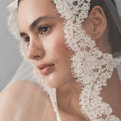 Cathedral Tulle Bridal Veil With Lace by Michelle Roth Accessories