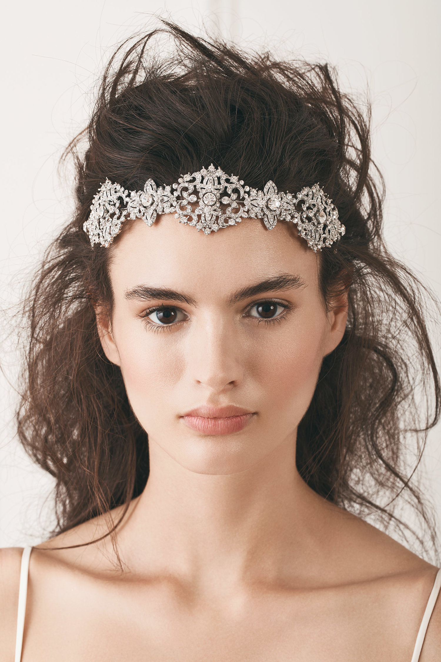 crystal bridal headpiece in silver | kleinfeld bridal