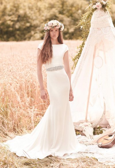 Modern Fit And Flare Wedding Dress by Mikaella