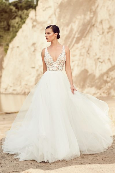 Romantic Ball Gown Wedding Dress by Mikaella - Image 1