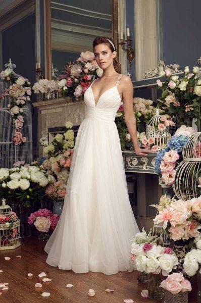 Simple Sheath Wedding Dress by Mikaella - Image 1