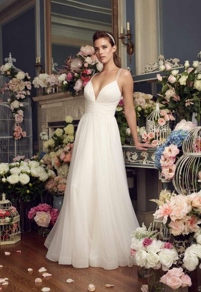 Simple Sheath Wedding Dress by Mikaella