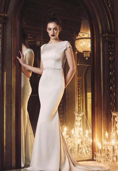 Modern Fit And Flare Wedding Dress by Paloma Blanca