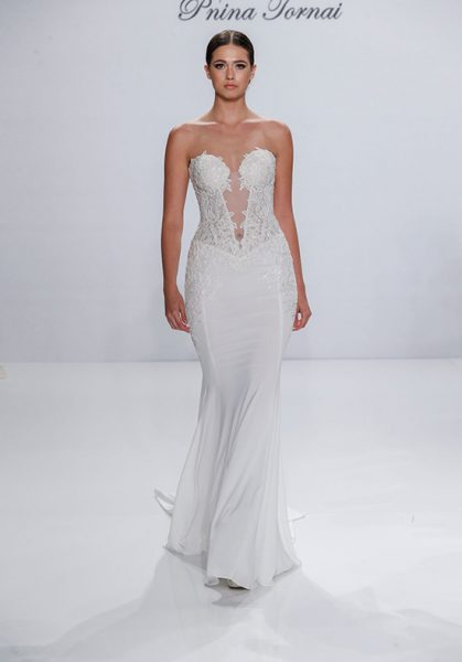 Couture Sheath Wedding Dress by Pnina Tornai - Image 1