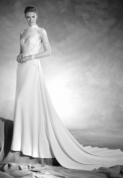 Classic Sheath Wedding Dress by Pronovias