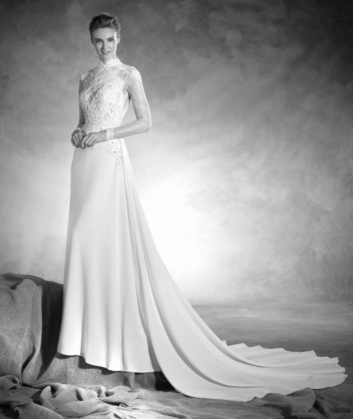 Classic Sheath Wedding Dress by Pronovias - Image 1