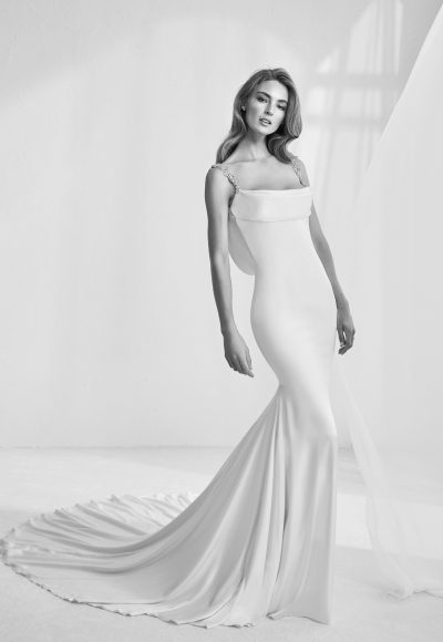 Modern Fit And Flare Wedding Dress by Pronovias