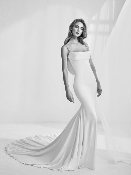 Modern Fit And Flare Wedding Dress by Pronovias - Image 1