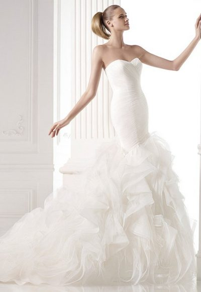 Modern Mermaid Wedding Dress by Pronovias