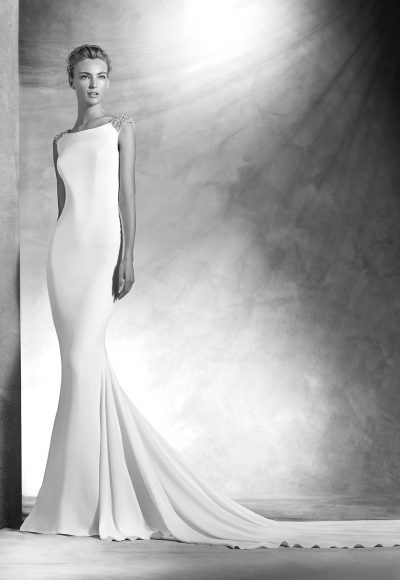 Modern Sheath Wedding Dress by Pronovias