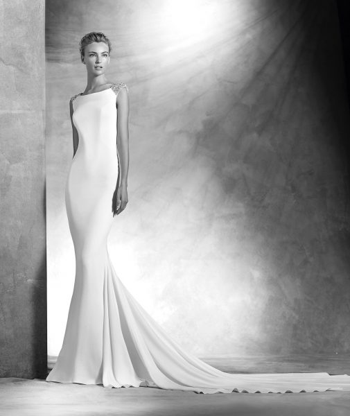 Modern Sheath Wedding Dress by Pronovias - Image 1