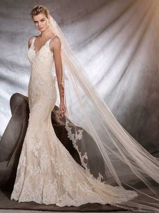 Romantic fit and flare wedding dress kleinfeld bridal romantic fit and flare wedding dress by pronovias image 1 zoomed in junglespirit Image collections