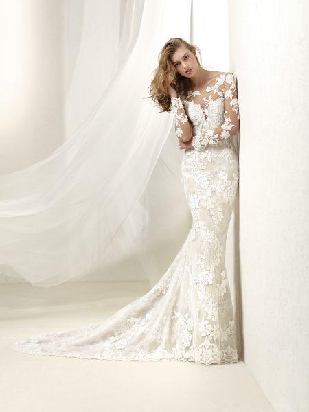 Romantic Sheath Wedding Dress by Pronovias - Image 1