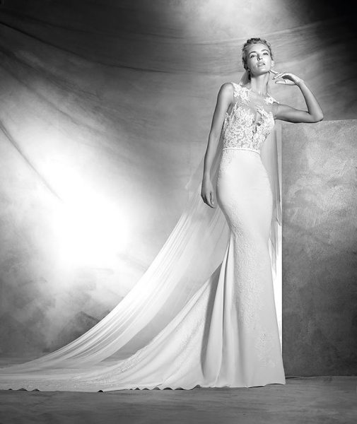 Romantic Sheath Wedding Dress by Pronovias - Image 1