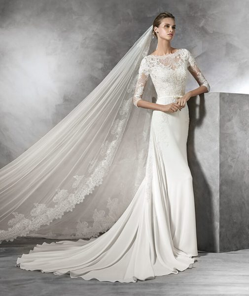 Sheath Wedding Dress by Pronovias - Image 1