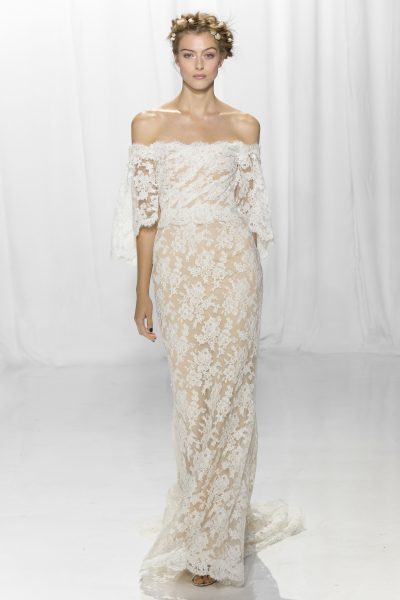 Bohemian Sheath Wedding Dress by Reem Acra - Image 1