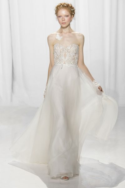 Sheath Strapless Embroidery Wedding Dress