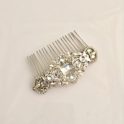 Silver Crystal Hair Comb by Unapologetic Magpie