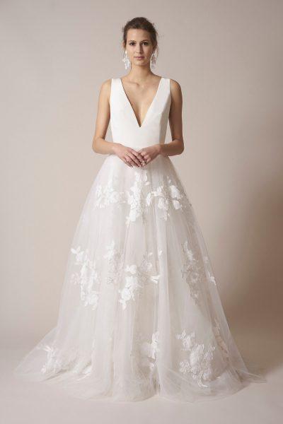 Modern a line wedding dress kleinfeld bridal for Sachin babi wedding dress
