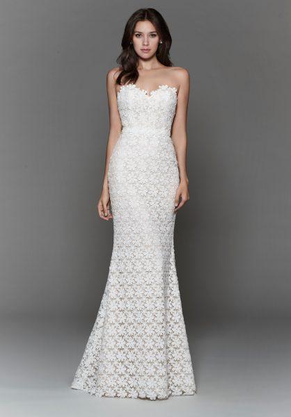 Trendy Sheath Wedding Dress by Tara Keely - Image 1