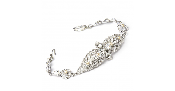 Crystal Bracelet With Ivory Pearls by Thomas Knoell - Image 1