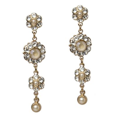 Crystal Earrings In Ivory by Thomas Knoell