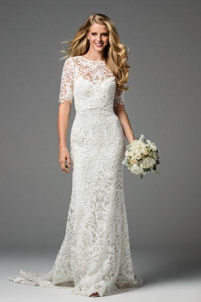 Classic Sheath Wedding Dress by Watters - Image 1