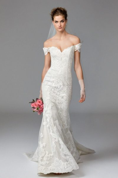 Fit and flare wedding dress kleinfeld bridal for Fit and flare wedding dress body type