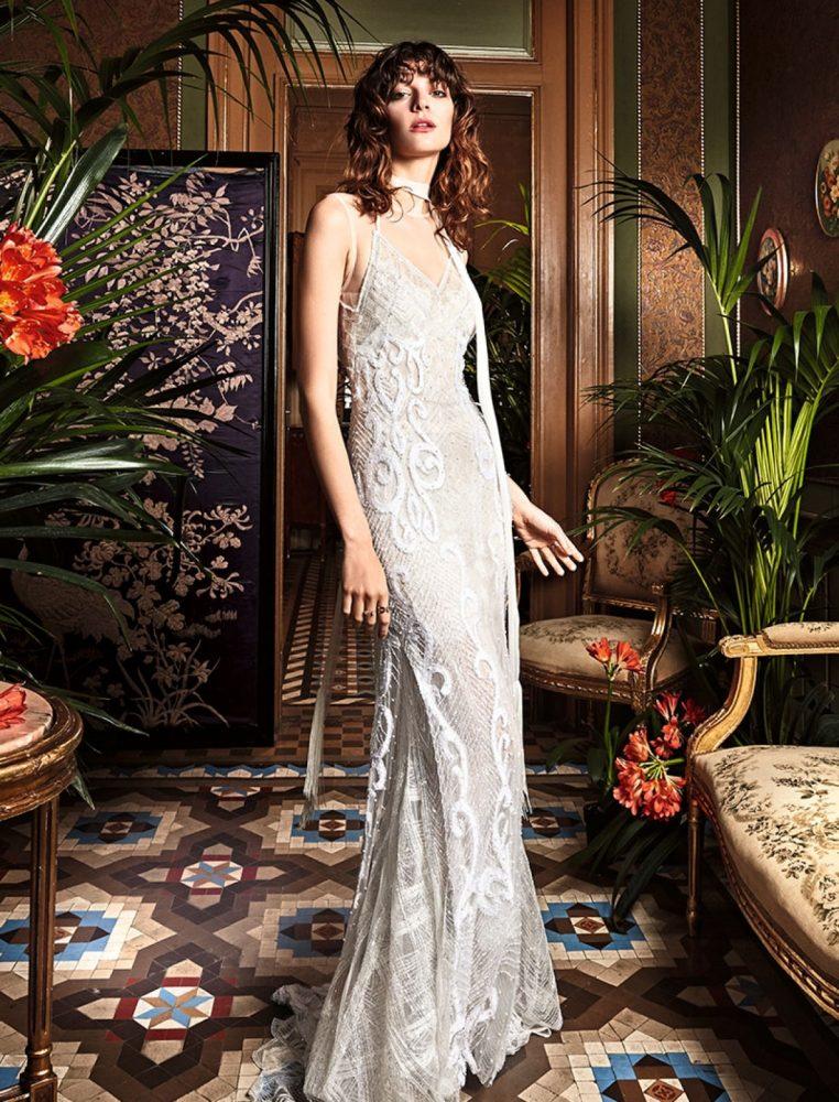 Bohemian Sheath Wedding Dress - Image 1