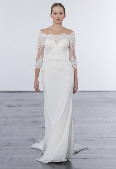 Classic Sheath Wedding Dress by Dennis Basso