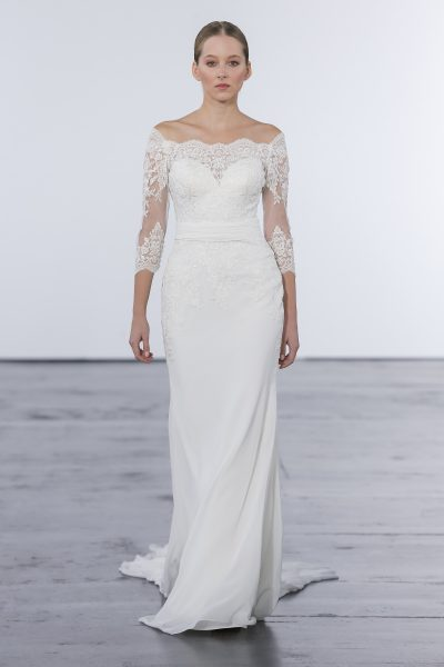 Classic Sheath Wedding Dress by Dennis Basso - Image 1