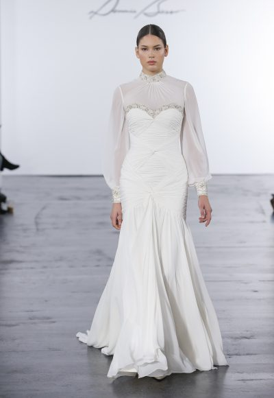 Modern Fit And Flare Wedding Dress by Dennis Basso