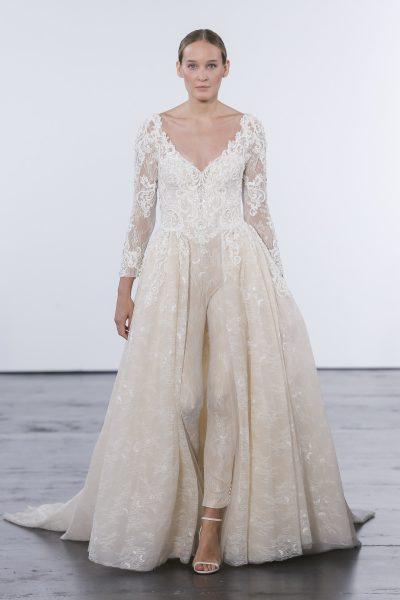 Romantic Pantsuit Wedding Dress by Dennis Basso - Image 1