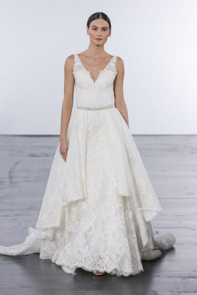 Romantic Sheath Wedding Dress by Dennis Basso - Image 1