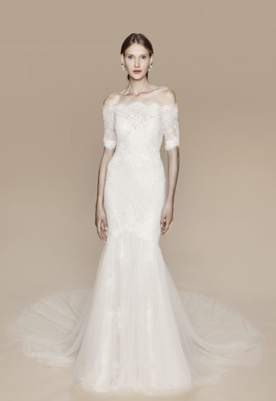Classic Off-the-shoulder Romantic by Notte Bridal by Marchesa