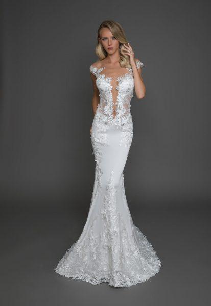 Modern ball gown wedding dress kleinfeld bridal ball gown cap sleeves illusion wedding dress junglespirit Gallery