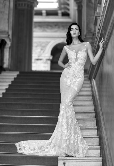 Modern Fit And Flare Wedding Dress by Maison Signore