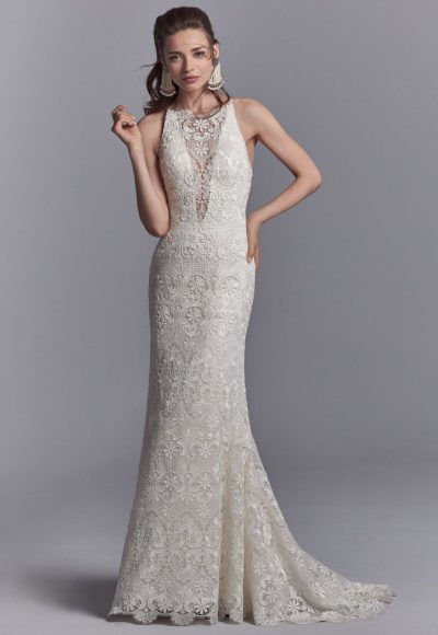 Bohemian Sheath Wedding Dress by Sottero and Midgley