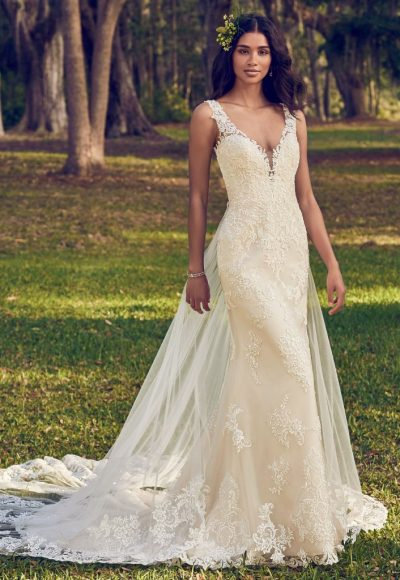 Bohemian Sheath Wedding Dress by Maggie Sottero