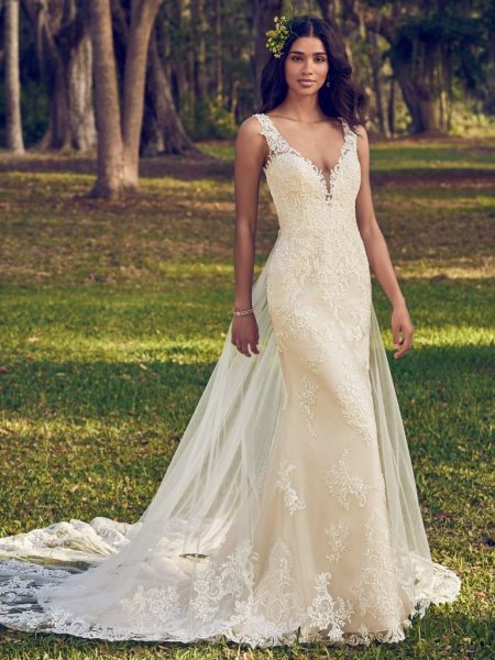 Bohemian Sheath Wedding Dress by Maggie Sottero - Image 1