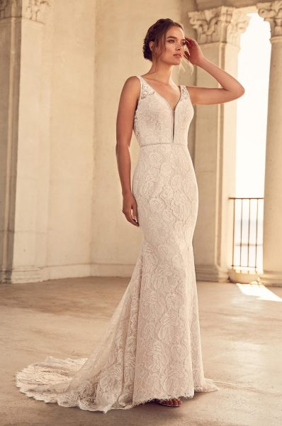 Simple Fit And Flare Wedding Dress by Paloma Blanca - Image 1