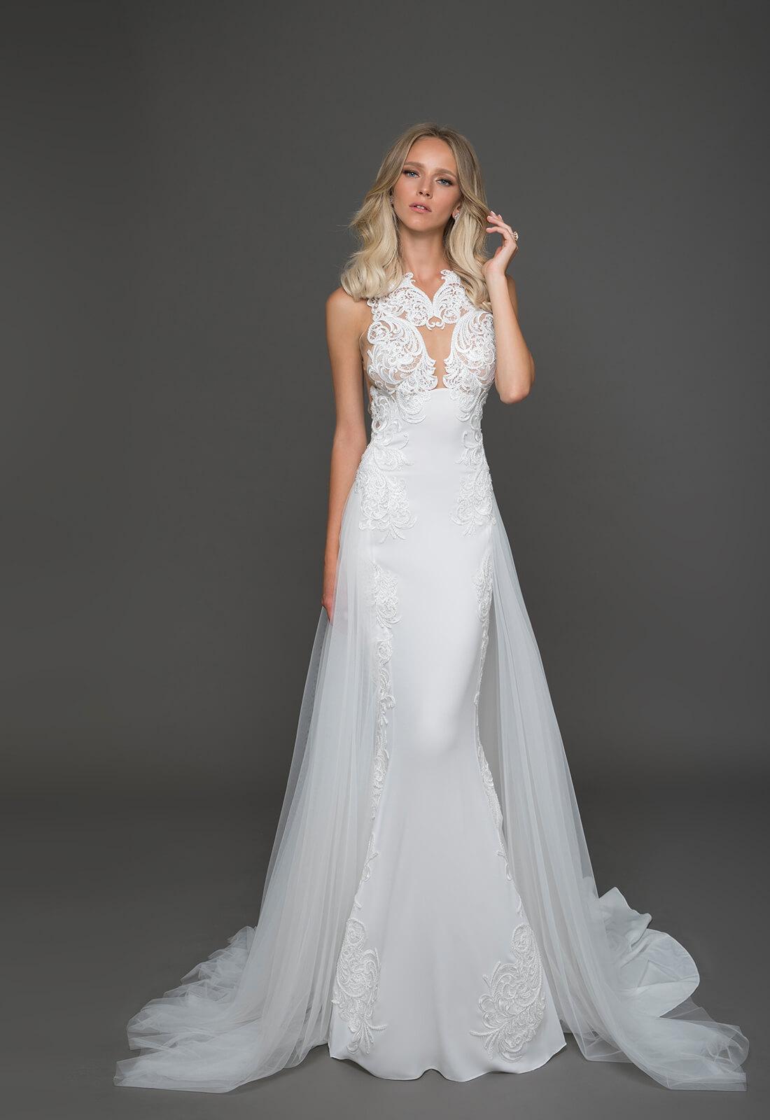 Trendy sheath wedding dress kleinfeld bridal trendy sheath wedding dress by pnina tornai image 1 zoomed in junglespirit Choice Image